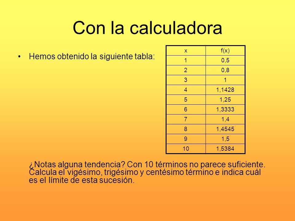 Con la calculadora Hemos obtenido la siguiente tabla: ¿Notas alguna tendencia? Con 10 términos no parece suficiente. Calcula el vigésimo, trigésimo y