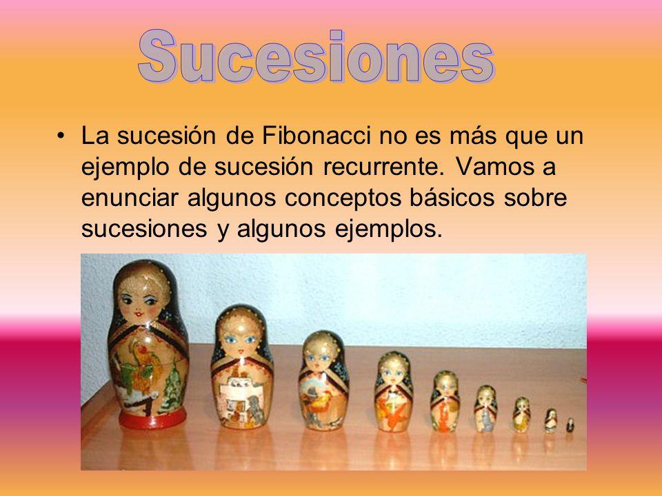 La sucesión de Fibonacci no es más que un ejemplo de sucesión recurrente. Vamos a enunciar algunos conceptos básicos sobre sucesiones y algunos ejempl