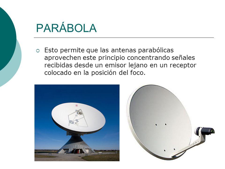PARÁBOLA Esto permite que las antenas parabólicas aprovechen este principio concentrando señales recibidas desde un emisor lejano en un receptor coloc