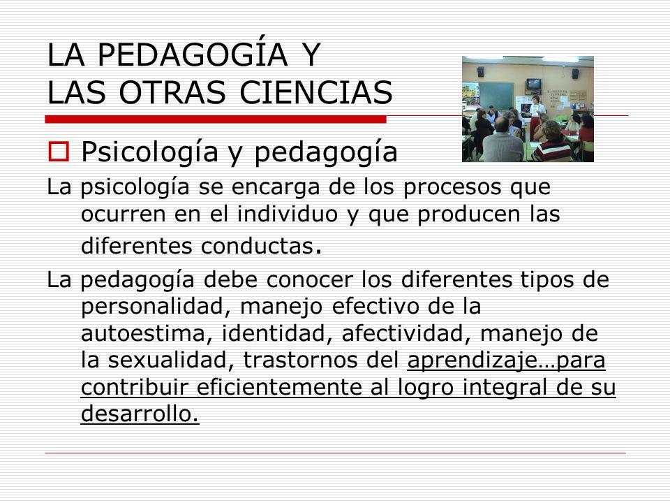 Psicología y pedagogía La psicología se encarga de los procesos que ocurren en el individuo y que producen las diferentes conductas. La pedagogía debe