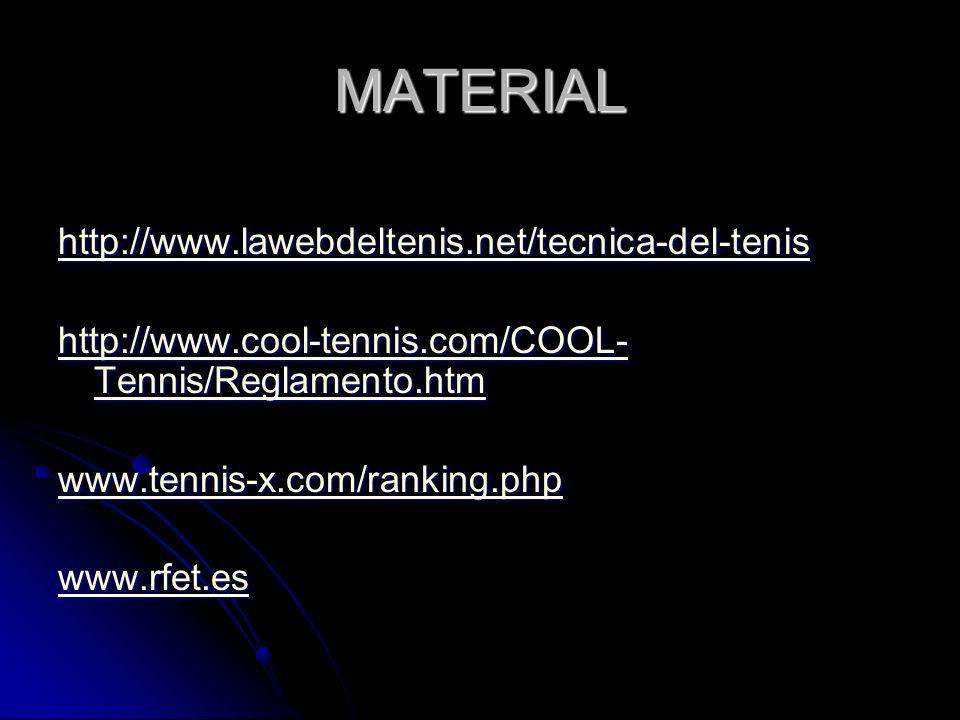 MATERIAL http://www.lawebdeltenis.net/tecnica-del-tenis http://www.cool-tennis.com/COOL- Tennis/Reglamento.htm http://www.cool-tennis.com/COOL- Tennis