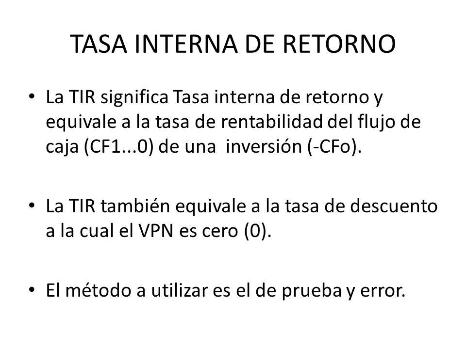 TASA INTERNA DE RETORNO La TIR significa Tasa interna de retorno y equivale a la tasa de rentabilidad del flujo de caja (CF1...0) de una inversión (-C