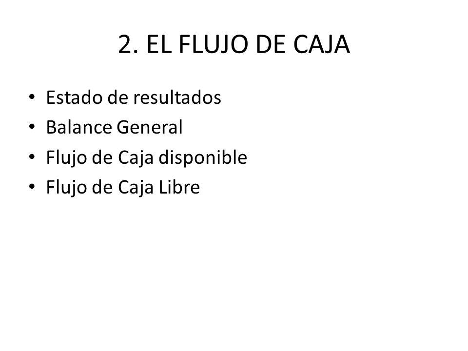 2. EL FLUJO DE CAJA Estado de resultados Balance General Flujo de Caja disponible Flujo de Caja Libre