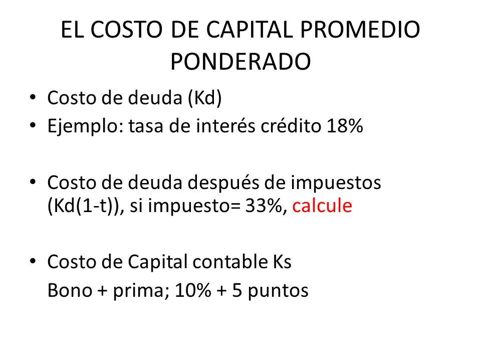 EL COSTO DE CAPITAL PROMEDIO PONDERADO Costo de deuda (Kd) Ejemplo: tasa de interés crédito 18% Costo de deuda después de impuestos (Kd(1-t)), si impu