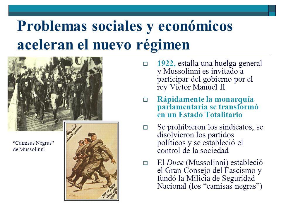 Problemas sociales y económicos aceleran el nuevo régimen 1922, estalla una huelga general y Mussolinni es invitado a participar del gobierno por el r