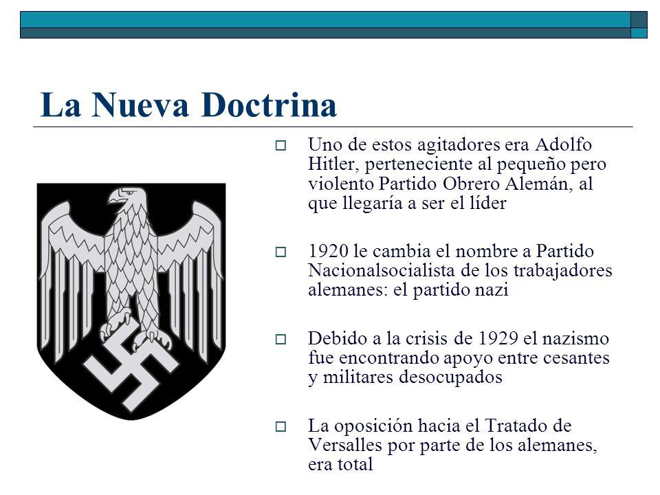 La Nueva Doctrina Uno de estos agitadores era Adolfo Hitler, perteneciente al pequeño pero violento Partido Obrero Alemán, al que llegaría a ser el lí