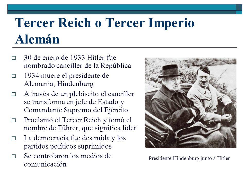 Tercer Reich o Tercer Imperio Alemán 30 de enero de 1933 Hitler fue nombrado canciller de la República 1934 muere el presidente de Alemania, Hindenbur