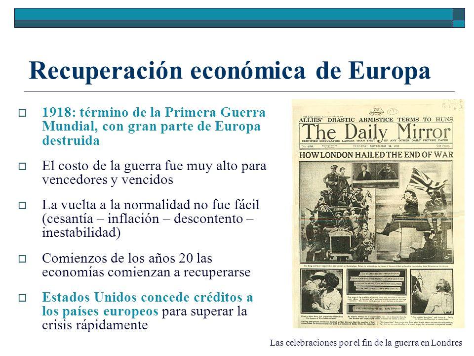 Recuperación económica de Europa 1918: término de la Primera Guerra Mundial, con gran parte de Europa destruida El costo de la guerra fue muy alto par