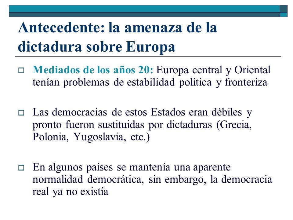 Antecedente: la amenaza de la dictadura sobre Europa Mediados de los años 20: Europa central y Oriental tenían problemas de estabilidad política y fro