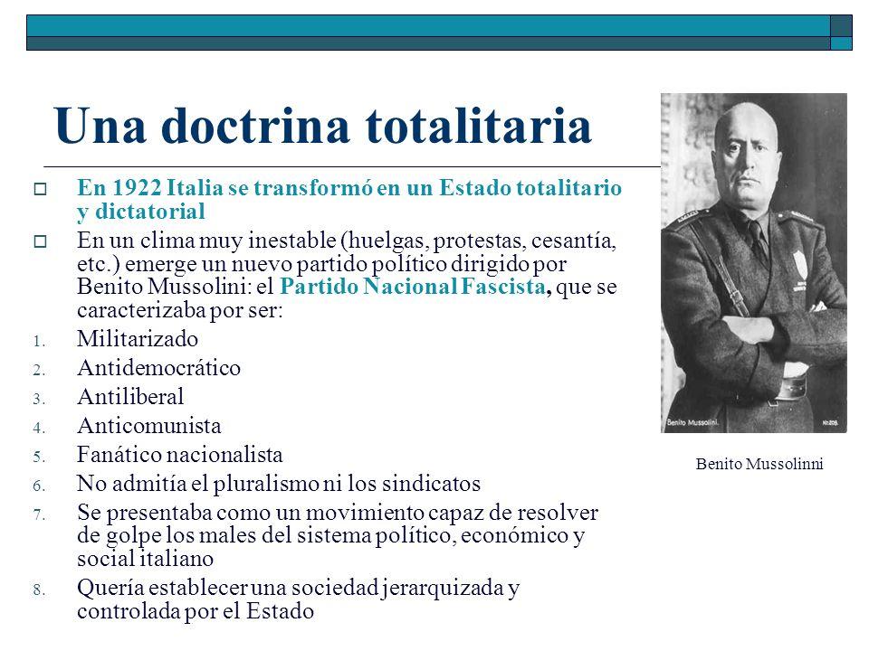 Una doctrina totalitaria En 1922 Italia se transformó en un Estado totalitario y dictatorial En un clima muy inestable (huelgas, protestas, cesantía,