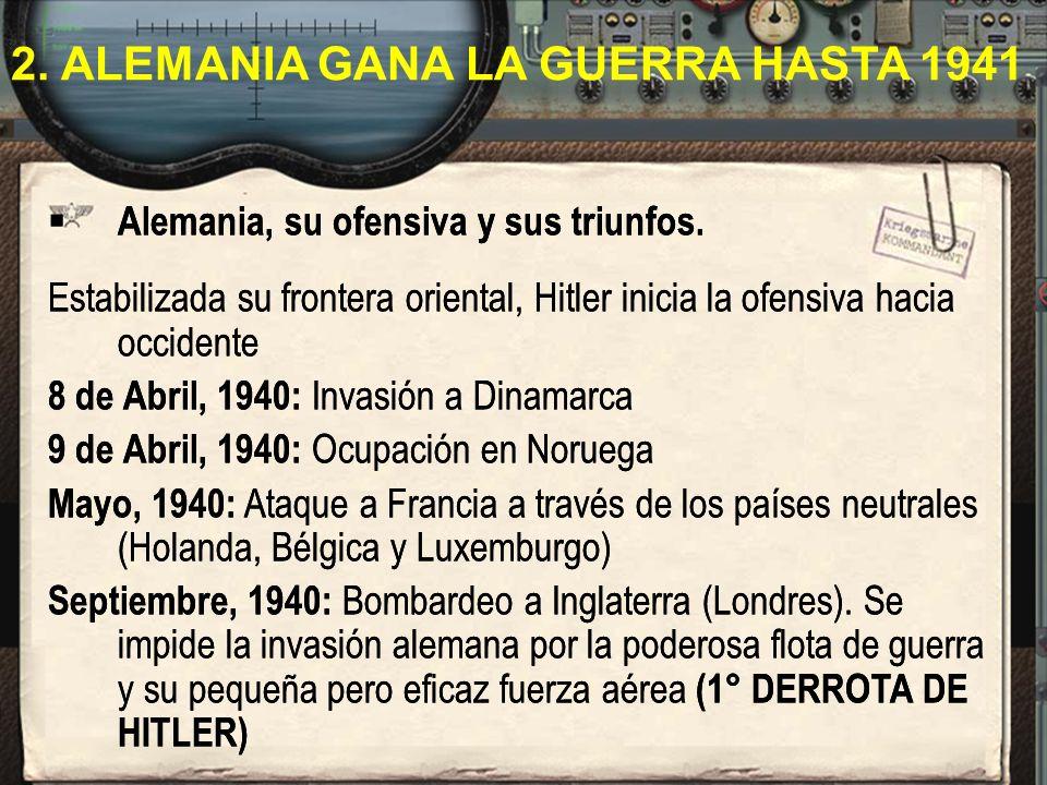 Alemania, su ofensiva y sus triunfos. Estabilizada su frontera oriental, Hitler inicia la ofensiva hacia occidente 8 de Abril, 1940: Invasión a Dinama
