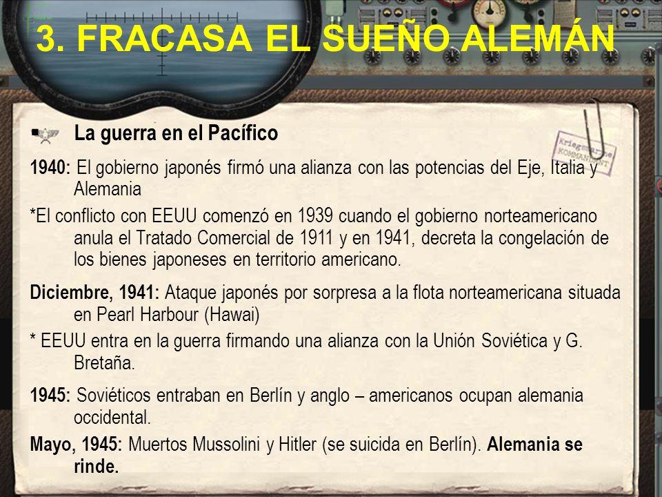 La guerra en el Pacífico 1940: El gobierno japonés firmó una alianza con las potencias del Eje, Italia y Alemania *El conflicto con EEUU comenzó en 19