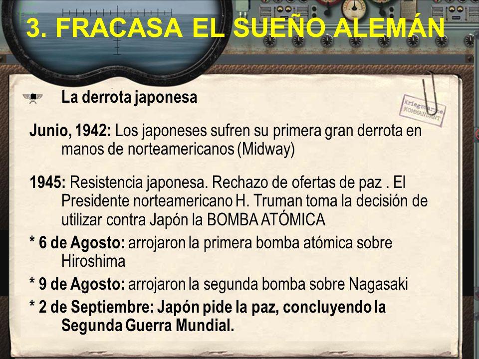 La derrota japonesa Junio, 1942: Los japoneses sufren su primera gran derrota en manos de norteamericanos (Midway) 1945: Resistencia japonesa. Rechazo