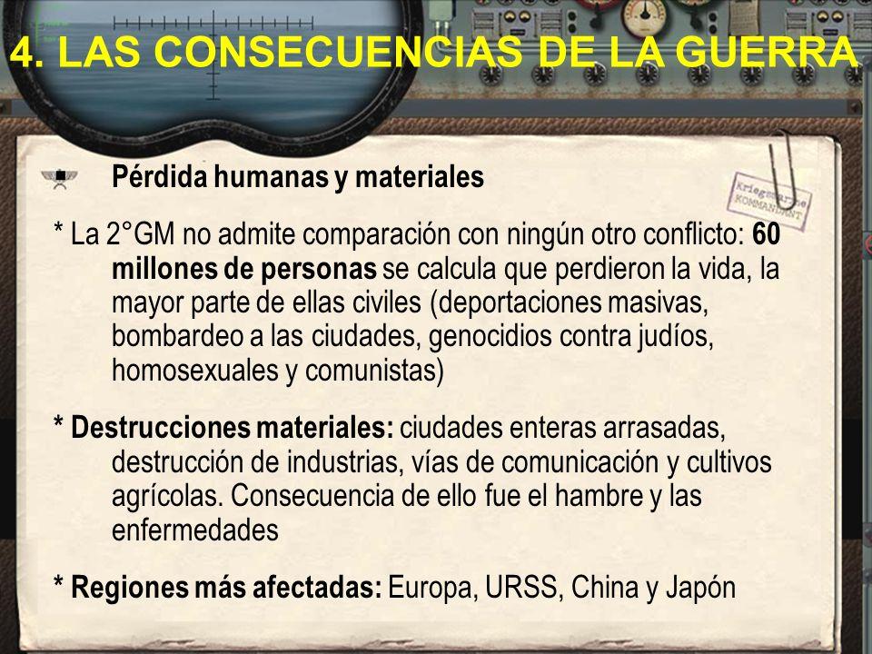 Pérdida humanas y materiales * La 2°GM no admite comparación con ningún otro conflicto: 60 millones de personas se calcula que perdieron la vida, la m