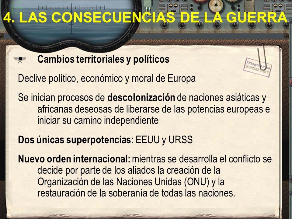 Cambios territoriales y políticos Declive político, económico y moral de Europa Se inician procesos de descolonización de naciones asiáticas y african