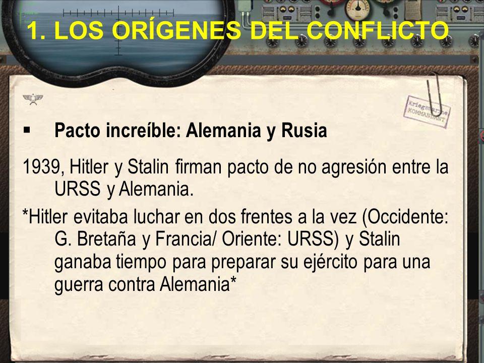 1. LOS ORÍGENES DEL CONFLICTO Pacto increíble: Alemania y Rusia 1939, Hitler y Stalin firman pacto de no agresión entre la URSS y Alemania. *Hitler ev