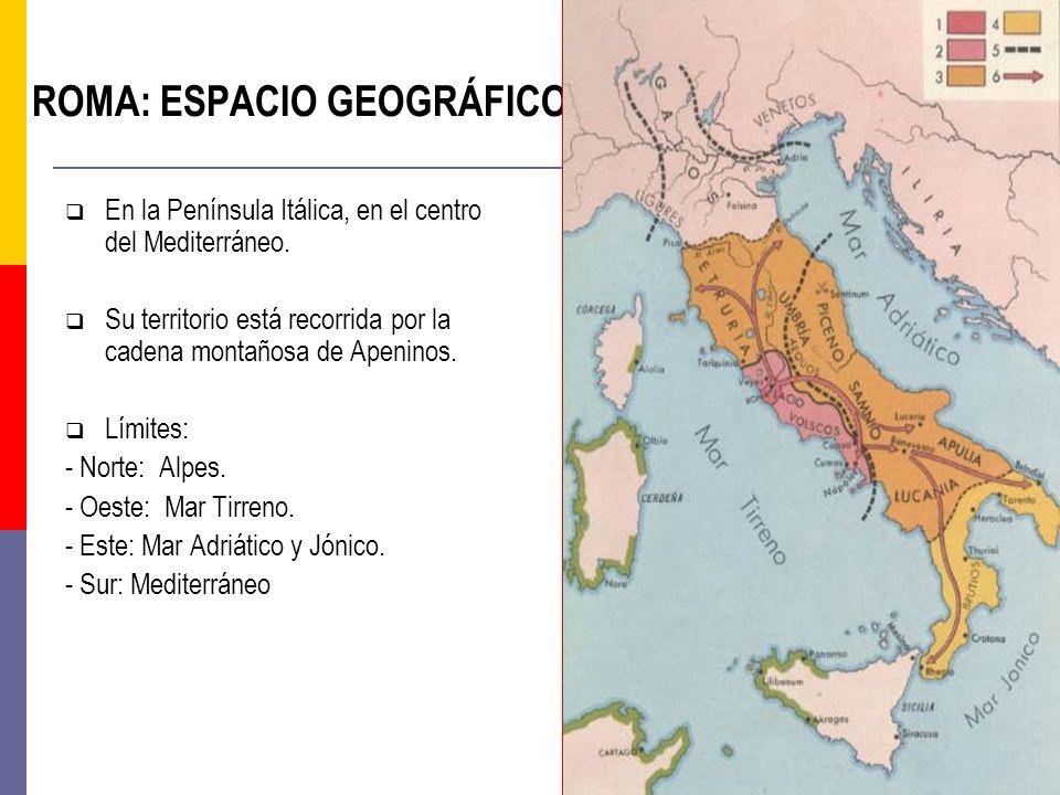 ROMA: ESPACIO GEOGRÁFICO En la Península Itálica, en el centro del Mediterráneo. Su territorio está recorrida por la cadena montañosa de Apeninos. Lím