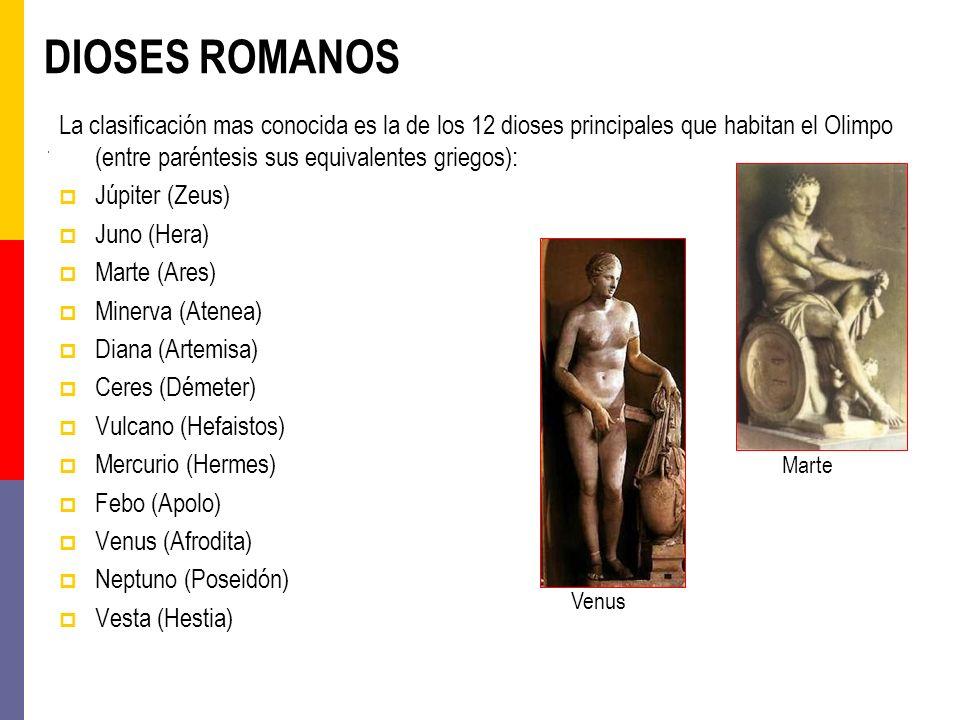 DIOSES ROMANOS La clasificación mas conocida es la de los 12 dioses principales que habitan el Olimpo (entre paréntesis sus equivalentes griegos): Júp