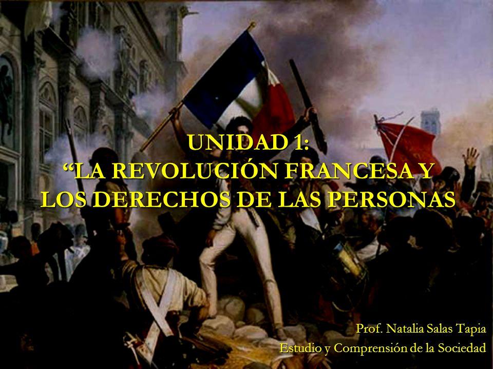 UNIDAD 1: LA REVOLUCIÓN FRANCESA Y LOS DERECHOS DE LAS PERSONAS Prof. Natalia Salas Tapia Estudio y Comprensión de la Sociedad
