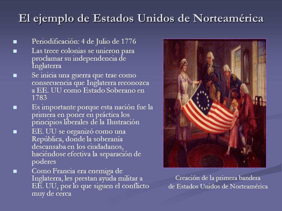 Periodificación: 4 de Julio de 1776 Las trece colonias se unieron para proclamar su independencia de Inglaterra Se inicia una guerra que trae como con