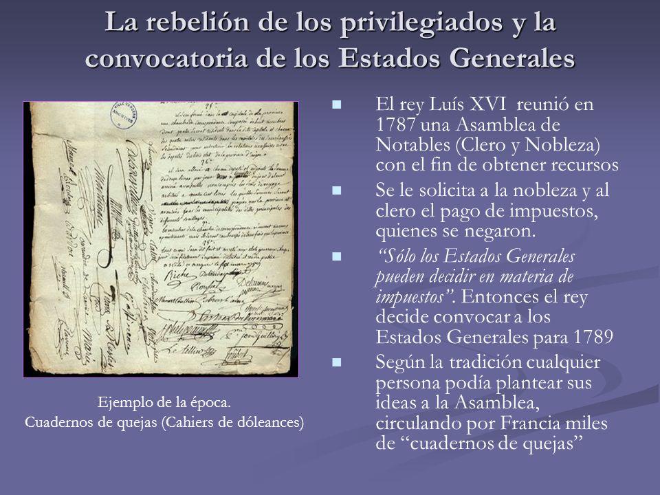 El rey Luís XVI reunió en 1787 una Asamblea de Notables (Clero y Nobleza) con el fin de obtener recursos Se le solicita a la nobleza y al clero el pag