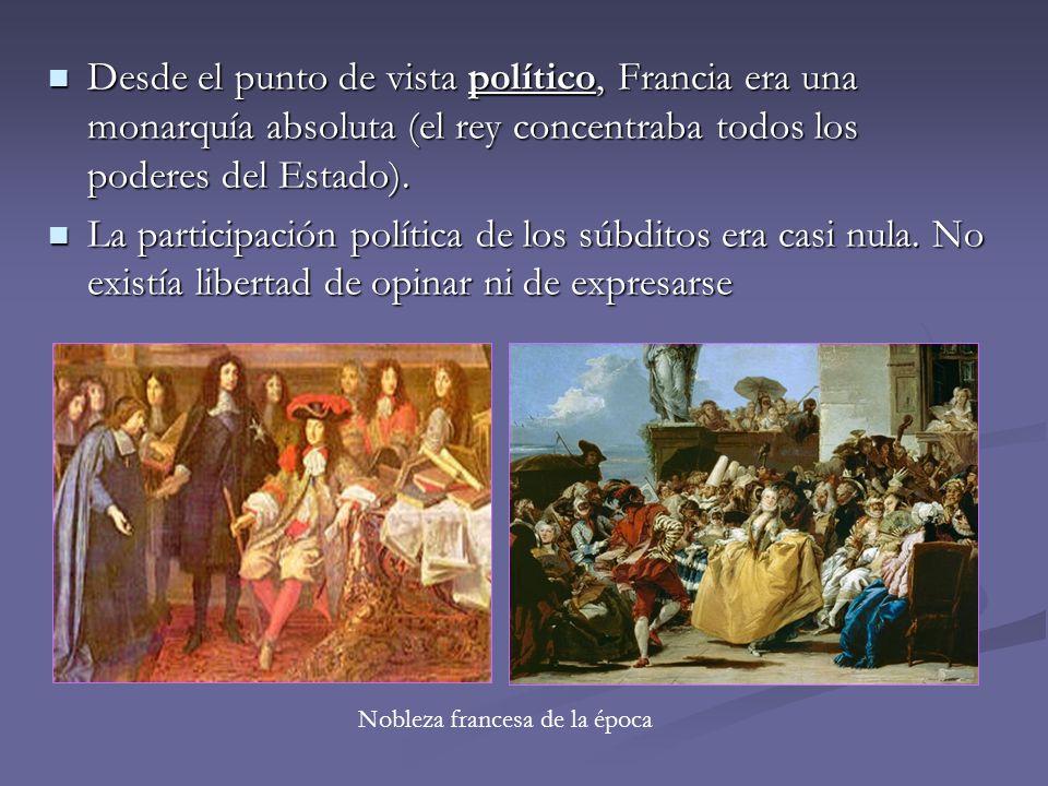 Desde el punto de vista político, Francia era una monarquía absoluta (el rey concentraba todos los poderes del Estado). Desde el punto de vista políti