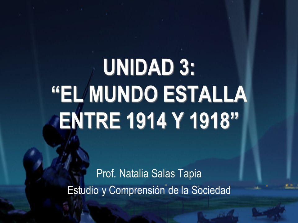 UNIDAD 3: EL MUNDO ESTALLA ENTRE 1914 Y 1918 Prof.