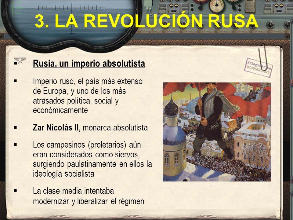 3. LA REVOLUCIÓN RUSA Rusia, un imperio absolutista Imperio ruso, el país más extenso de Europa, y uno de los más atrasados política, social y económi