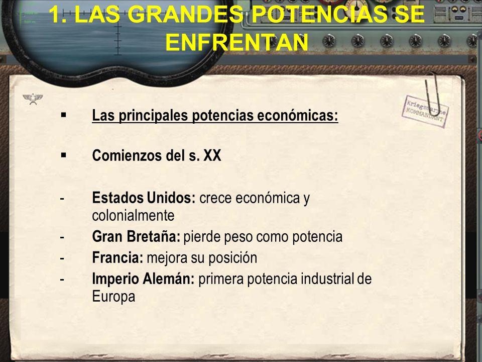1.LAS GRANDES POTENCIAS SE ENFRENTAN Las principales potencias económicas: Comienzos del s.