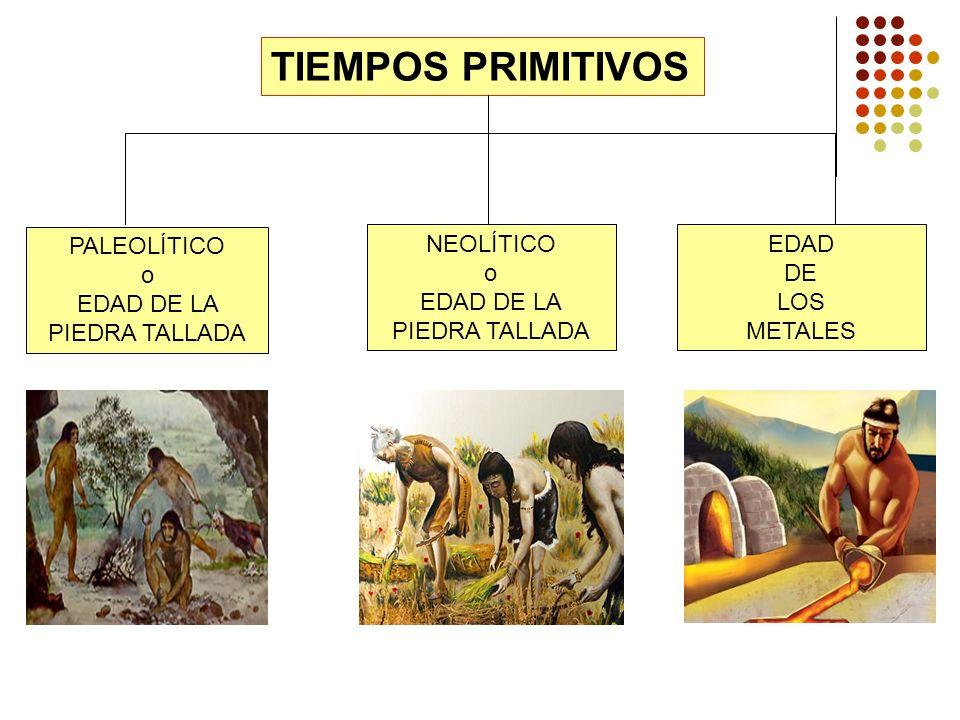 TIEMPOS PRIMITIVOS PALEOLÍTICO o EDAD DE LA PIEDRA TALLADA NEOLÍTICO o EDAD DE LA PIEDRA TALLADA EDAD DE LOS METALES