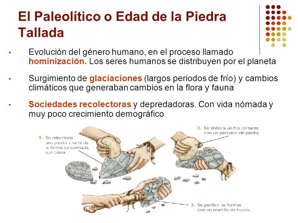 El Paleolítico o Edad de la Piedra Tallada Evolución del género humano, en el proceso llamado hominización. Los seres humanos se distribuyen por el pl