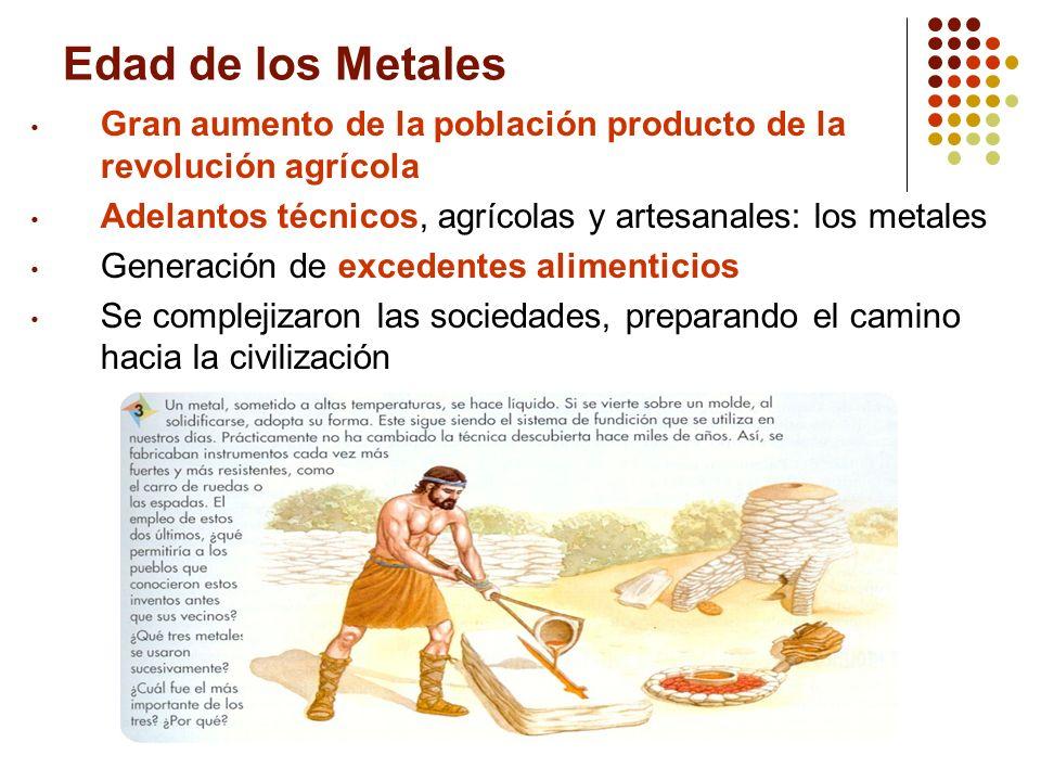 Edad de los Metales Gran aumento de la población producto de la revolución agrícola Adelantos técnicos, agrícolas y artesanales: los metales Generació