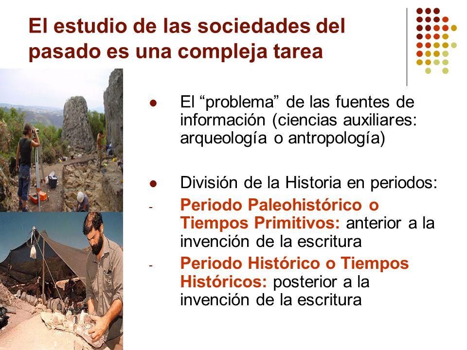 El estudio de las sociedades del pasado es una compleja tarea El problema de las fuentes de información (ciencias auxiliares: arqueología o antropolog