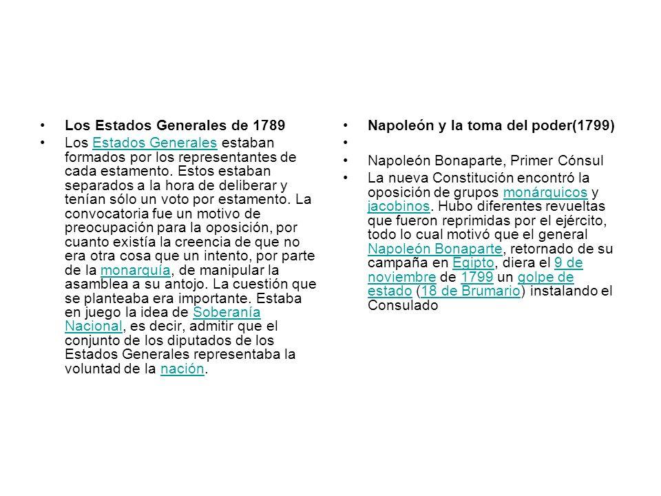 Los Estados Generales de 1789 Los Estados Generales estaban formados por los representantes de cada estamento. Estos estaban separados a la hora de de