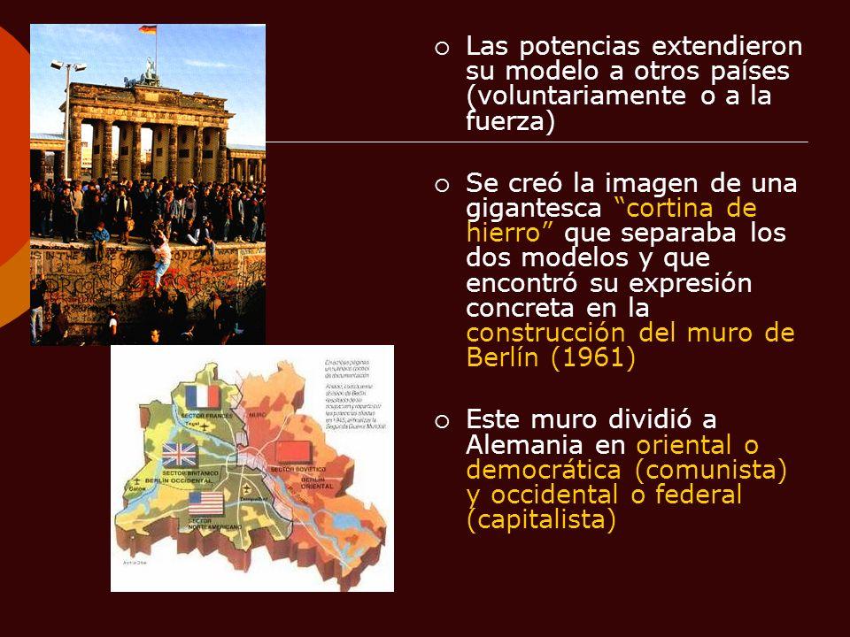 Las potencias extendieron su modelo a otros países (voluntariamente o a la fuerza) Se creó la imagen de una gigantesca cortina de hierro que separaba