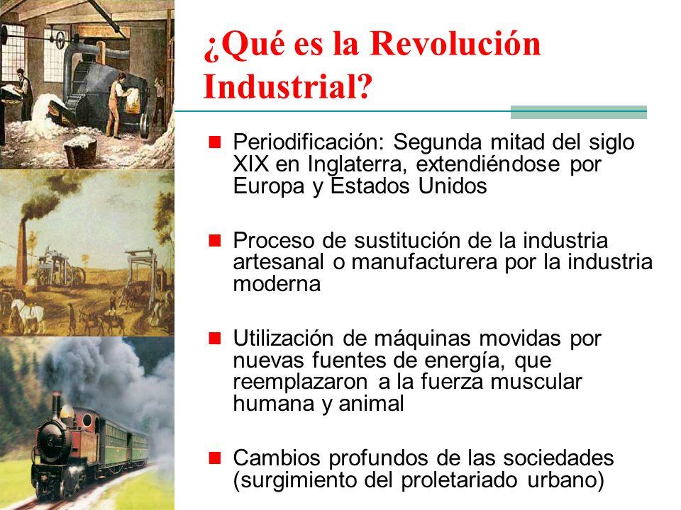 ¿Qué es la Revolución Industrial? Periodificación: Segunda mitad del siglo XIX en Inglaterra, extendiéndose por Europa y Estados Unidos Proceso de sus