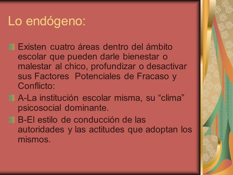 Lo endógeno: Existen cuatro áreas dentro del ámbito escolar que pueden darle bienestar o malestar al chico, profundizar o desactivar sus Factores Pote