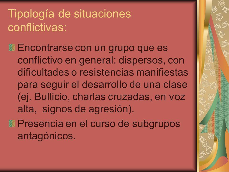 Tipología de situaciones conflictivas: Encontrarse con un grupo que es conflictivo en general: dispersos, con dificultades o resistencias manifiestas