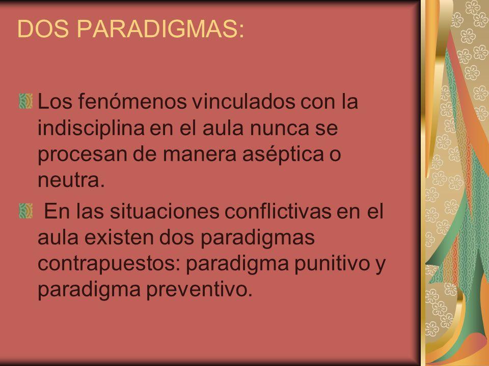 DOS PARADIGMAS: Los fenómenos vinculados con la indisciplina en el aula nunca se procesan de manera aséptica o neutra. En las situaciones conflictivas