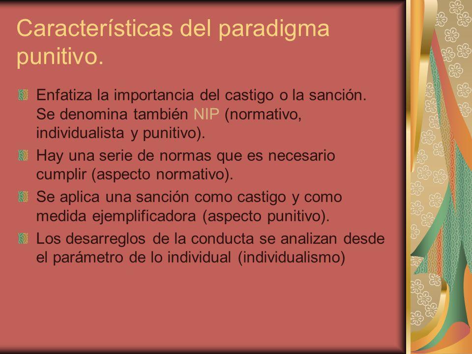 Características del paradigma punitivo. Enfatiza la importancia del castigo o la sanción. Se denomina también NIP (normativo, individualista y punitiv
