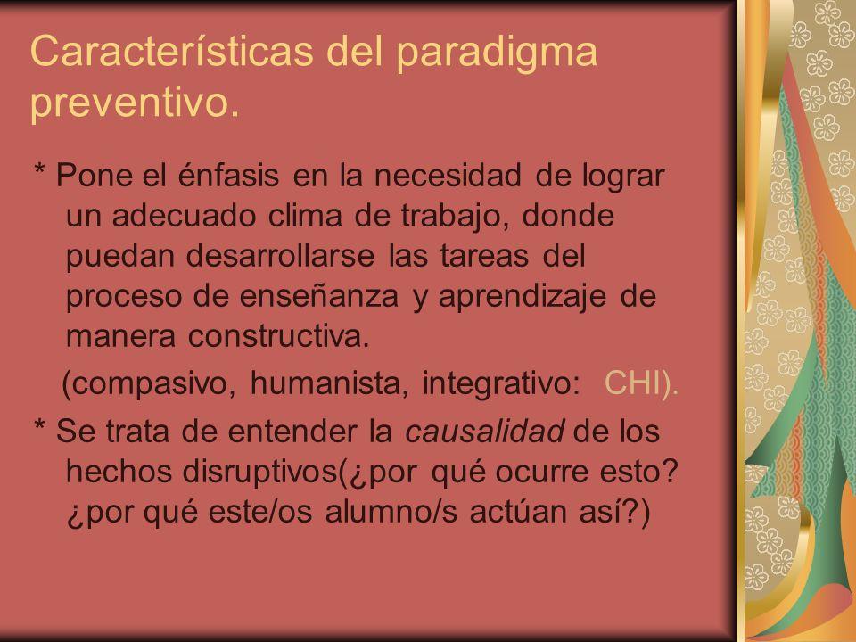Características del paradigma preventivo. * Pone el énfasis en la necesidad de lograr un adecuado clima de trabajo, donde puedan desarrollarse las tar