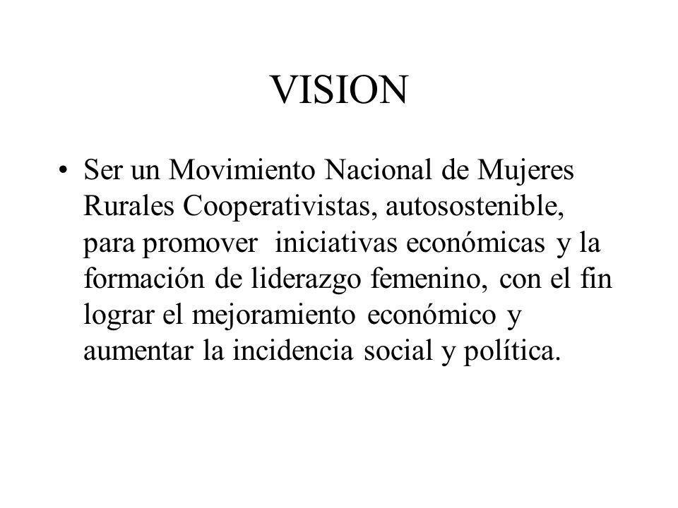 VISION Ser un Movimiento Nacional de Mujeres Rurales Cooperativistas, autosostenible, para promover iniciativas económicas y la formación de liderazgo femenino, con el fin lograr el mejoramiento económico y aumentar la incidencia social y política.