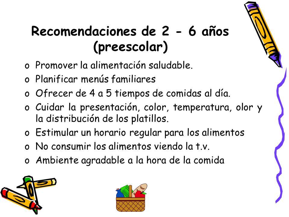 Recomendaciones de 2 - 6 años (preescolar) oPromover la alimentación saludable.