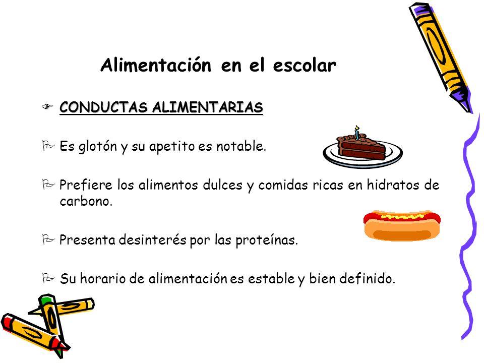 Alimentación en el escolar CONDUCTAS ALIMENTARIAS CONDUCTAS ALIMENTARIAS PEs glotón y su apetito es notable.