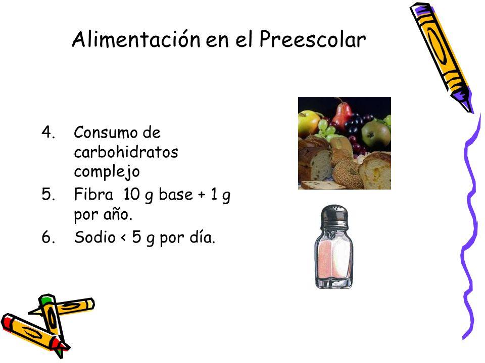 Alimentación en el Preescolar 4.Consumo de carbohidratos complejo 5.Fibra 10 g base + 1 g por año.
