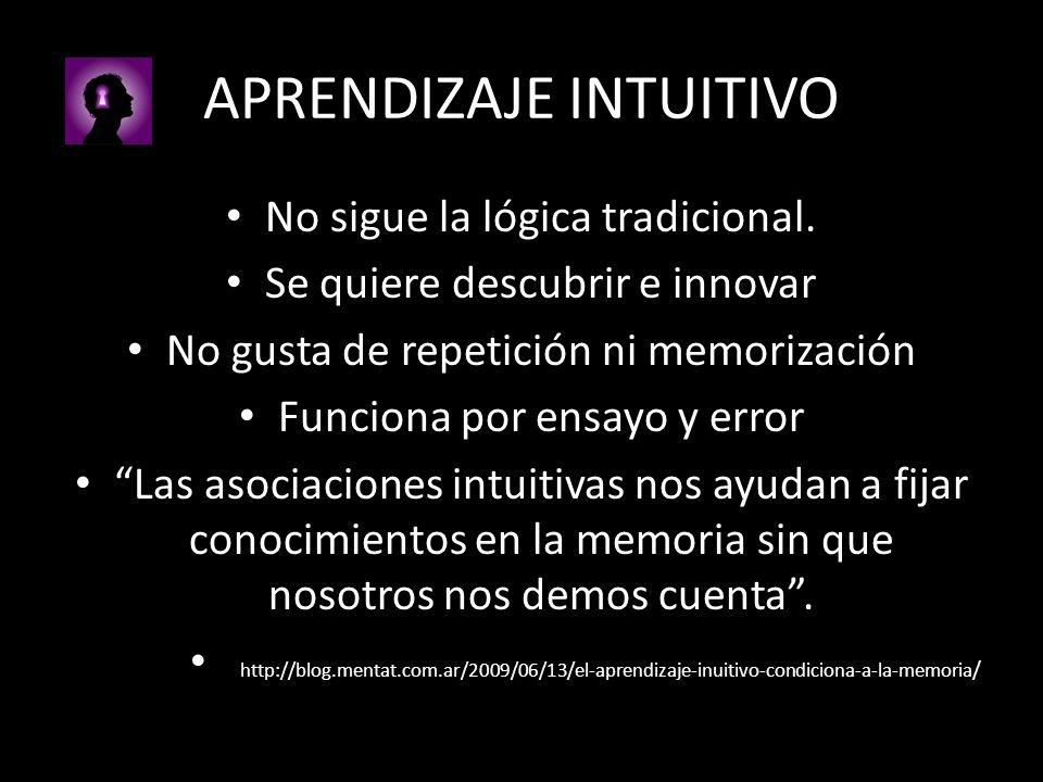APRENDIZAJE INTUITIVO No sigue la lógica tradicional. Se quiere descubrir e innovar No gusta de repetición ni memorización Funciona por ensayo y error