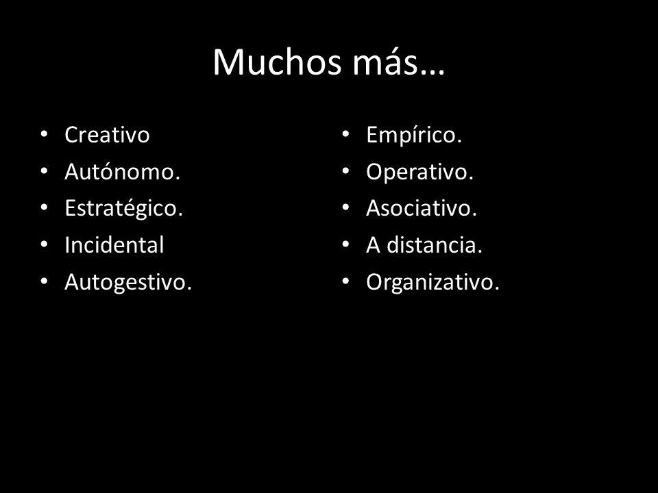Muchos más… Creativo Autónomo. Estratégico. Incidental Autogestivo. Empírico. Operativo. Asociativo. A distancia. Organizativo.