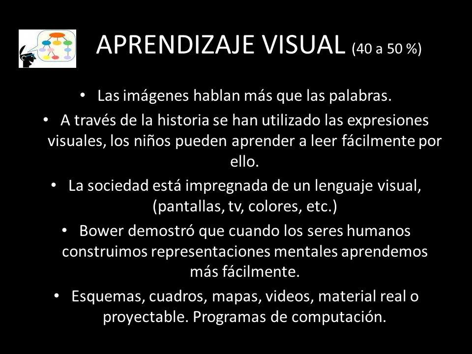 APRENDIZAJE VISUAL (40 a 50 %) Las imágenes hablan más que las palabras. A través de la historia se han utilizado las expresiones visuales, los niños