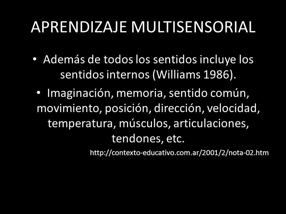 APRENDIZAJE MULTISENSORIAL Además de todos los sentidos incluye los sentidos internos (Williams 1986). Imaginación, memoria, sentido común, movimiento