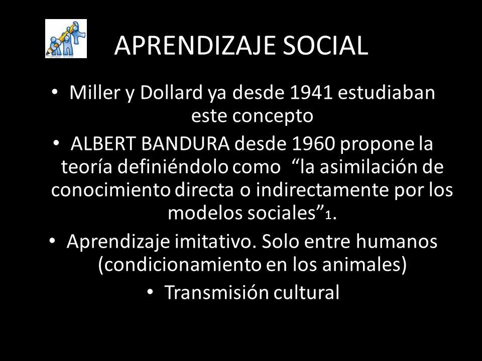 APRENDIZAJE SOCIAL Miller y Dollard ya desde 1941 estudiaban este concepto ALBERT BANDURA desde 1960 propone la teoría definiéndolo como la asimilació